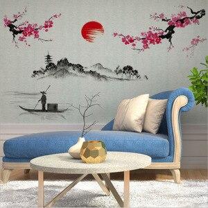 Image 4 - Çin tarzı Sakura japon pembe kiraz çiçeği ağaç dekor duvar Sticker dekor