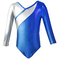 NT16087 long sleeve solid patchwork Gymnastic Leotard for girl and women