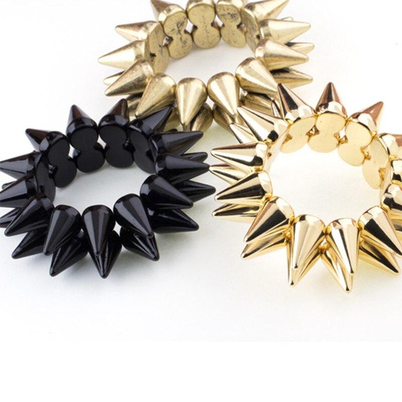 פאנק רוק מסמרות ספייק קאף צמידי זהב צבע אקריליק 2-Row נמתח סגולה צמידים & צמיד אופנה תכשיטי גברים נשים