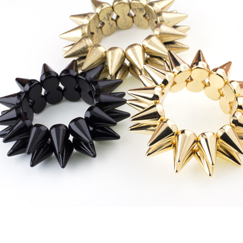 Rrathë Punk Rock 2-Row Acrylic Cuff Bracelets Gold Color Rivets Rrathë Charm Stretched & Bangle Fashion Women Women Women