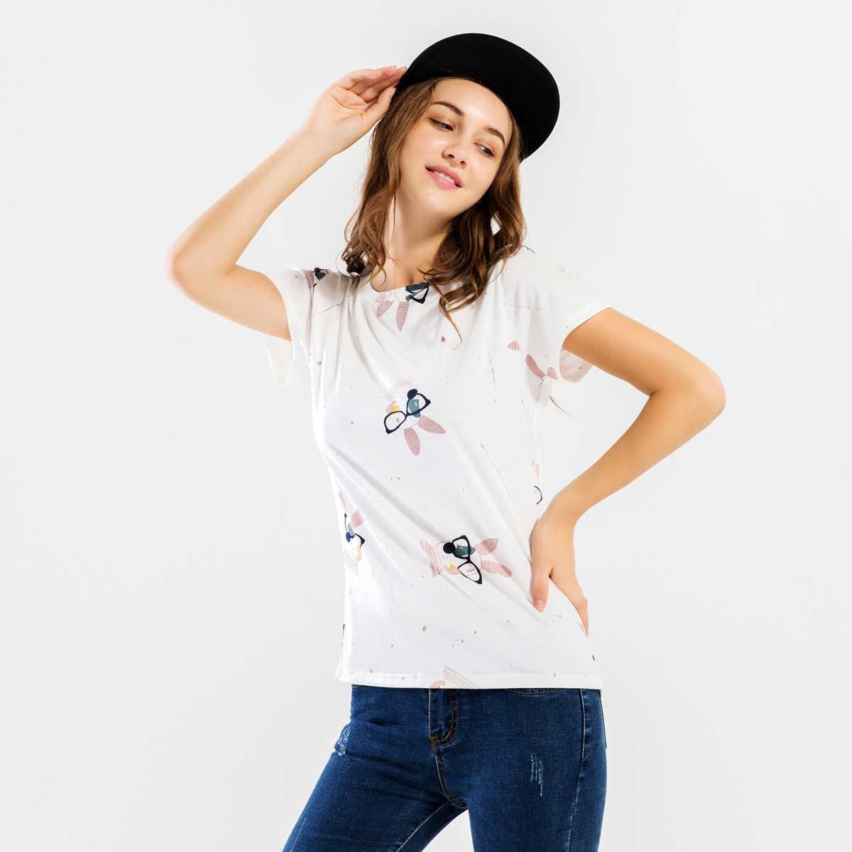 Kawaii/топ с 3D принтом, Женские повседневные футболки с короткими рукавами и круглым вырезом для леди, лето 2019, Лидер продаж, футболка, женская одежда