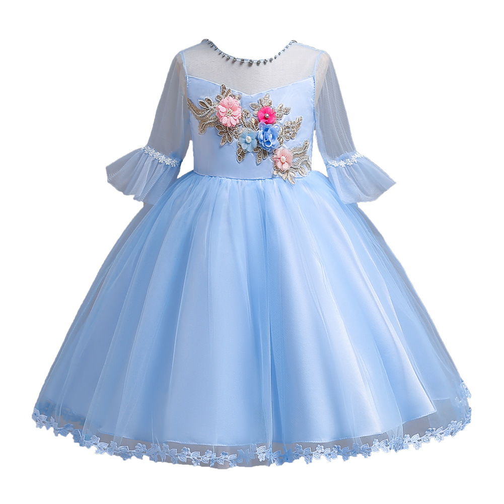 Girl Ball Gown Flower Embrodiery Wedding Birthday Children Outfits Princess Flower Girl Dresses Prom Party Kids Clothing