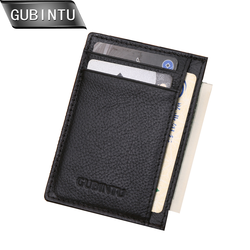 GUBINTU Genuine Leather Men Slim Front Pocket Card Case Credit Super Thin Fashion Card Holder trave wallet tarjetero hombre