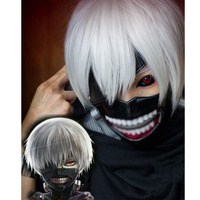 2015 New Produxt Japan Anime Tokyo Ghoul Ken Kaneki Cosplay Wig Synthetic Hair Halloween Party Wigs