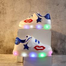 2018 europæisk lyset mode baby casual sko LED glødende sneakers til piger drenge sød læbe solid Lvvely søde baby småbørn