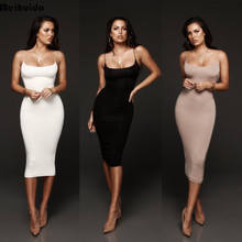 Hirigin 2019 Sexy Vestidos Vrouwen Jurken Robe Party Mouwloze Bodycon Formele Potlood Jurk Strech Business Solid Lady Kleding(China)