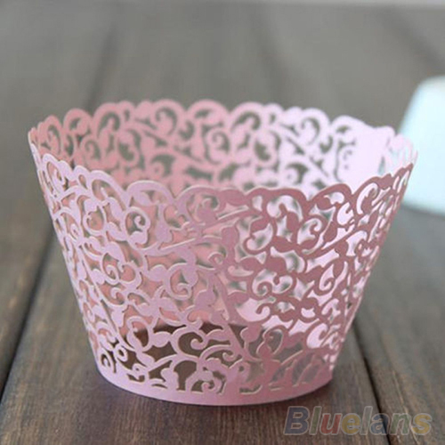 Image 4 - 12ocs/set Hollow Muffin Cupcake Paper Cups Wedding Birthday Baby Shower Filigree Vine Decor Wrapper Wraps Cupcake Cases-in Cake Molds from Home & Garden