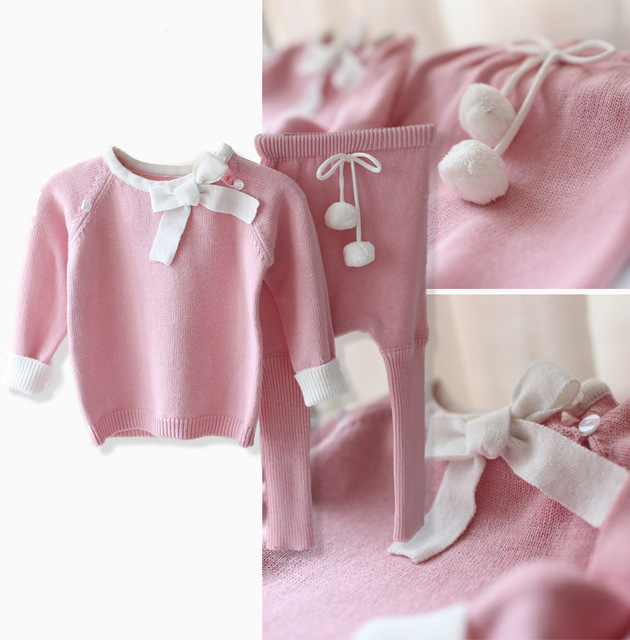 Nuevo 2016 primavera otoño géneros de punto de las muchachas del bebé suéter de la ropa infantil pantalones de los cabritos 2 unids sistemas del bebé lindo Knitting camisa pullover traje