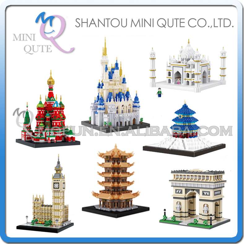 цена на BALODY world architecture Taj Mahal castle Arch of Triumph big ben Saint Basil's Cathedral building blocks model educational toy