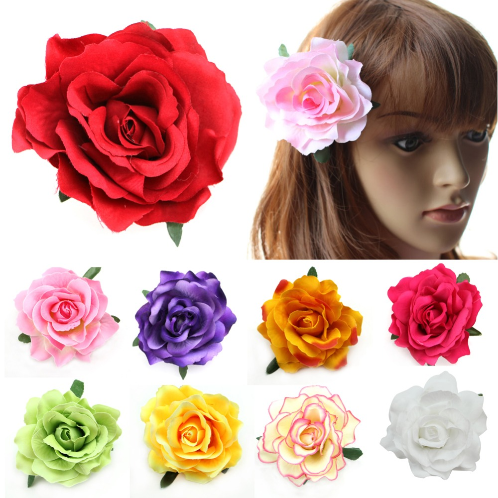Trendy Flocking Cloth Red Rose Flower Hair Clip Hairpin DIY Headdress Hair Accessories For Bridal Wedding