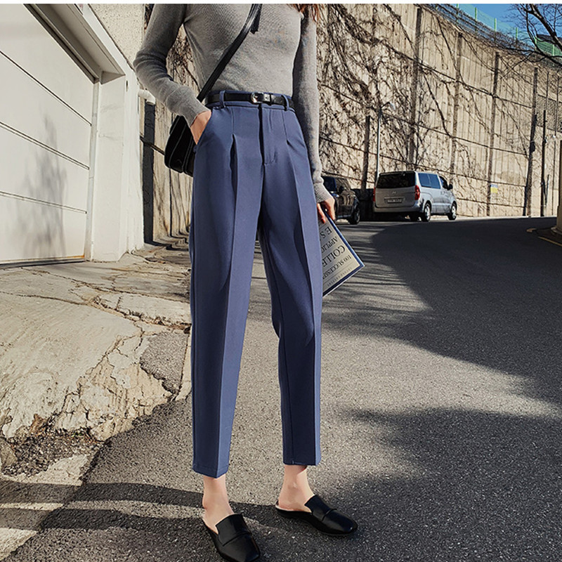JUJULAND Hot Sales 2019 Female Classic High Elastic Waist Harem Pants Women Fashion Slim Solid Color Ankle-length Pants 628