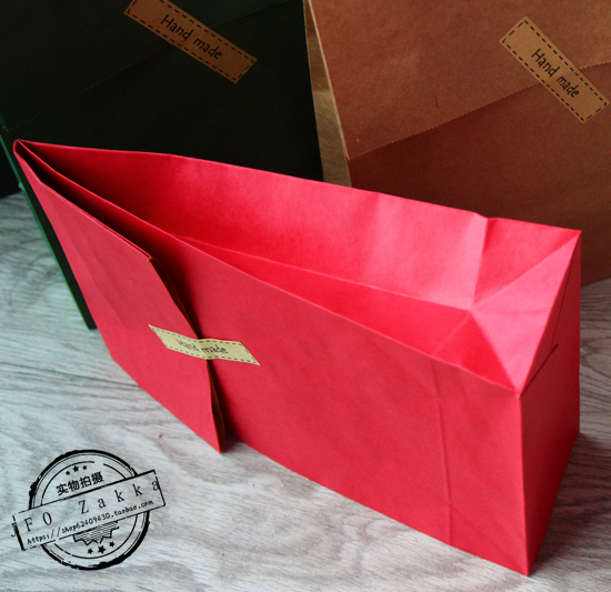 320x180x75mm 20pcs lot red kraft paper bags recyclable gift jewelry