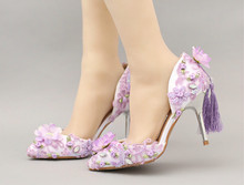 Purple tassel sequined wedding shoes Pointed lace flowers bridal shoes Pearl Super high heel dress shoes Women sandals