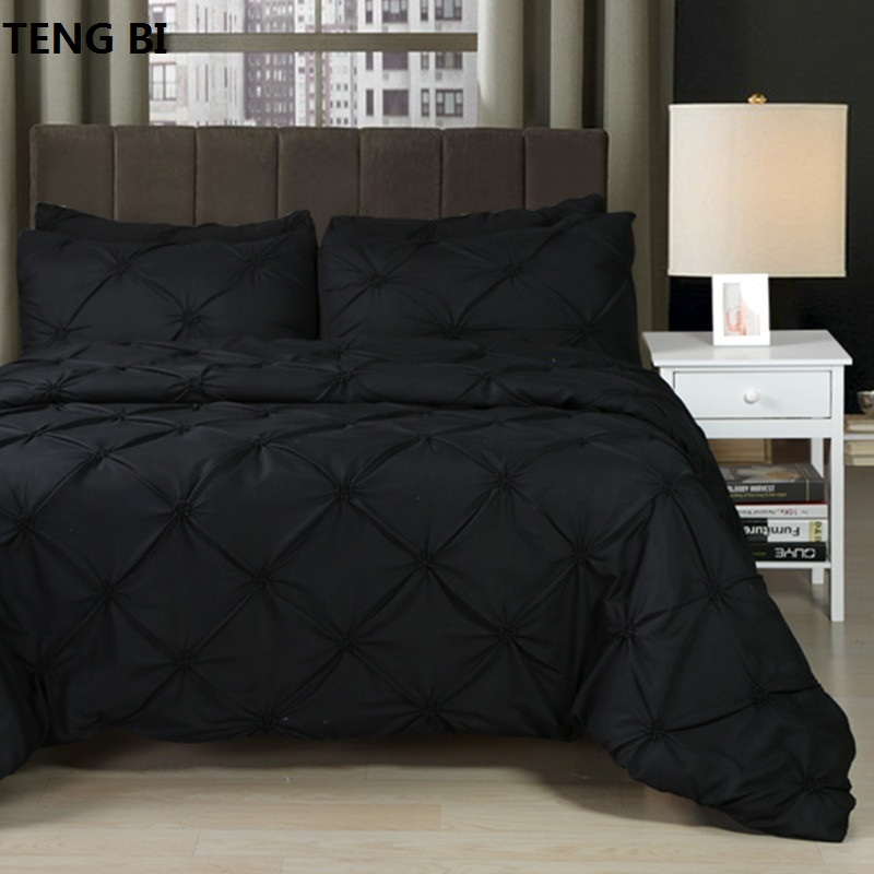 New European and American fashion simple style home textile black white gray solid color bedding set Queen King 3PCS bedding