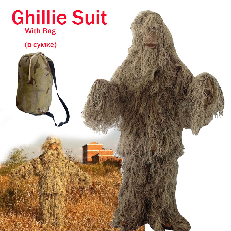 Desert Camouflage Hunting Ghillie Suit CS Game Hide Uniform Bird watching Photography Outdoor Military Tactical Sniper