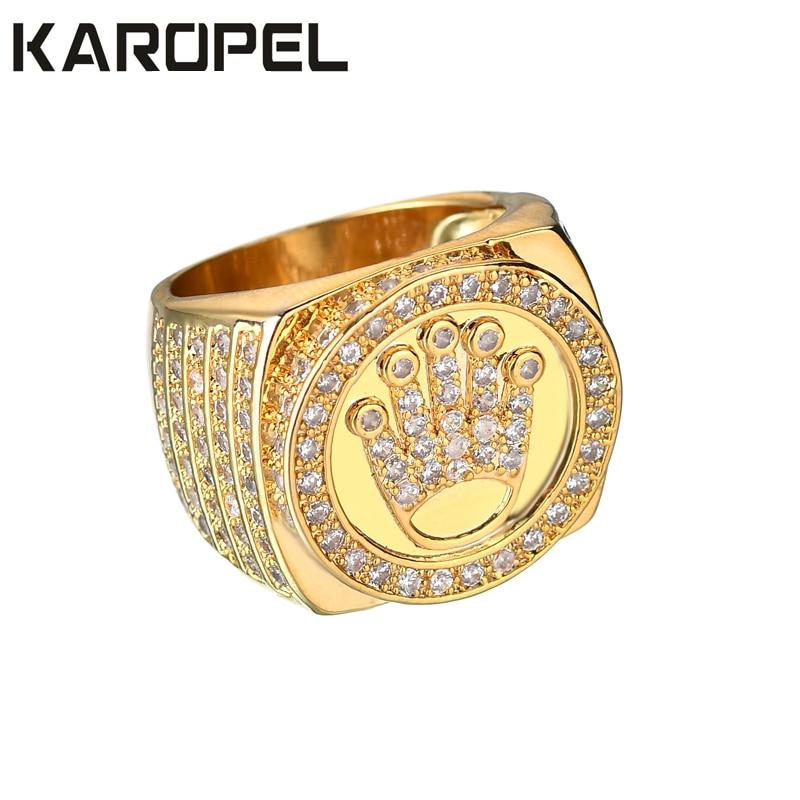 Karopel Hip Hop Bling Gioielli Re Corona Regalo di Giorno del Padre per Gli Uomini Bling Bling Micro Pavimenta CZ Zircone Color Oro anello