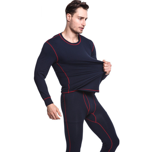 New Autumn Winter Thermal Underwear Sets Men Quick Dry Anti-microbial Stretch Mens Thermo Underwear Male Warm Long Johns Fitness(China)