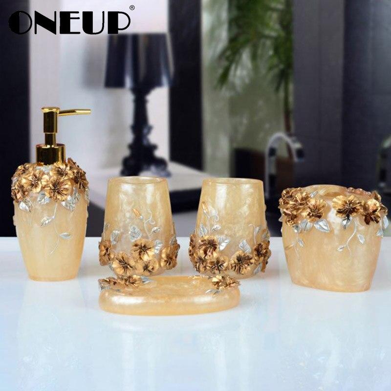 ONEUP Bathroom Accessories Sets 5PCS Resin Bathroom Suit Soap Dispenser Toothbrush Holder Cup Soap Dish Bath