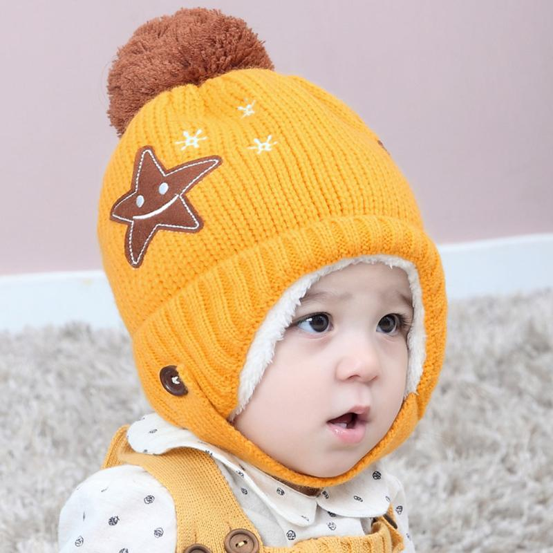 Cute Baby Hat Soft Cotton Newborn Baby Beanie Cap Warm Winter Hat For Baby Girls Boys 5 Star Smile Pattern Ear Knitted Hats