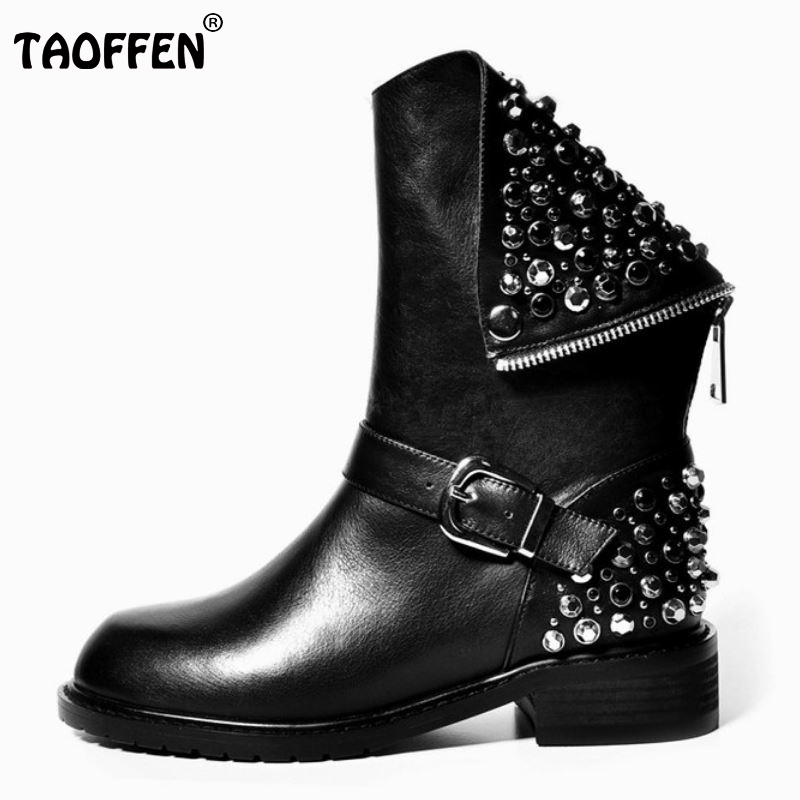 Real Genuine Leather Boots Rivet Square Heels Autumn Winter Ankle Boots Sexy Martin Fur Snow Boots Shoes Woman Size 34-39 N00105 rizabina genuine leather boots rivet square heels autumn winter ankle boots sexy martin fur snow boots shoes woman size34 39