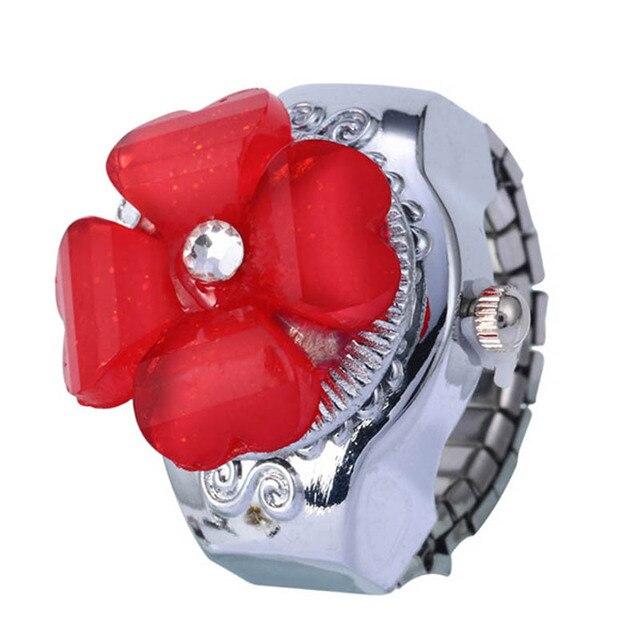 Creative Fashion Lady Women Steel Round Elastic Quartz Watches Girl Finger Ring Watch Woman relogio feminino