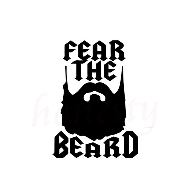 b9d077061a15 Humor Lettering Fear The Beard Funny Car Sticker Wall Home Glass Window  Door Laptop Auto Truck Vinyl Decal Black 11.4cmX15.7cm