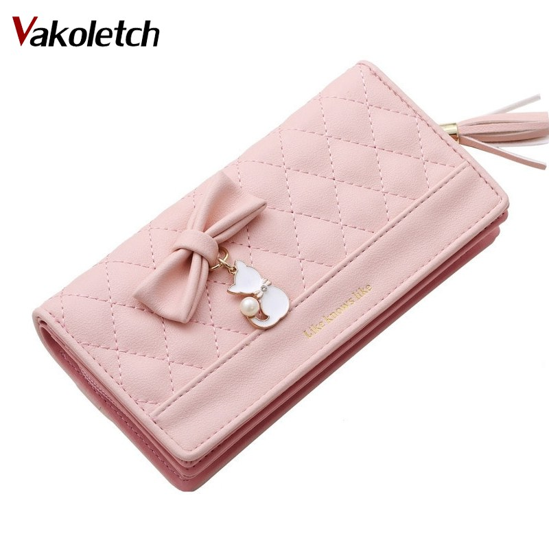 Women Wallet Female Purse Money Bag Long Women Leather Purse Card Phone Wallet Tassel Bow Cute Cat Pendant Letter Zipper K46 thinkthendo women leather card phone holder long arrow wallet checkbook tassel handbag purse