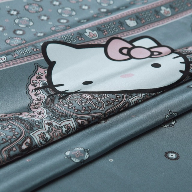 a232719a8 Pure Silk Crepe De Chine Fabric,Cartoon Hello Kitty  Prints,Smooth,Soft,Grey,Sewing,DIY,Dress,Shirt-making.Fabric By The Piece
