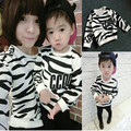 Clothing moda zebra stripe hoodies família mãe filha roupas mãe e filho esportes de algodão macio camiseta roupa dos miúdos varejo