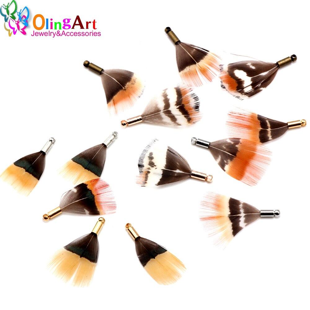 OlingArt, натуральные перья, 12 шт., 25 мм, красные перья, женское ожерелье, серьги, кисточки, сделай сам, ювелирное изделие, изящные подвески