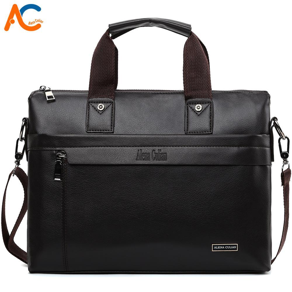 Alena Culian Leather Laptop Handbag For Business Men 15.6 Inch Briefcase Bag Casual Mens Document Bag Shoulder Bags Bolsa Male