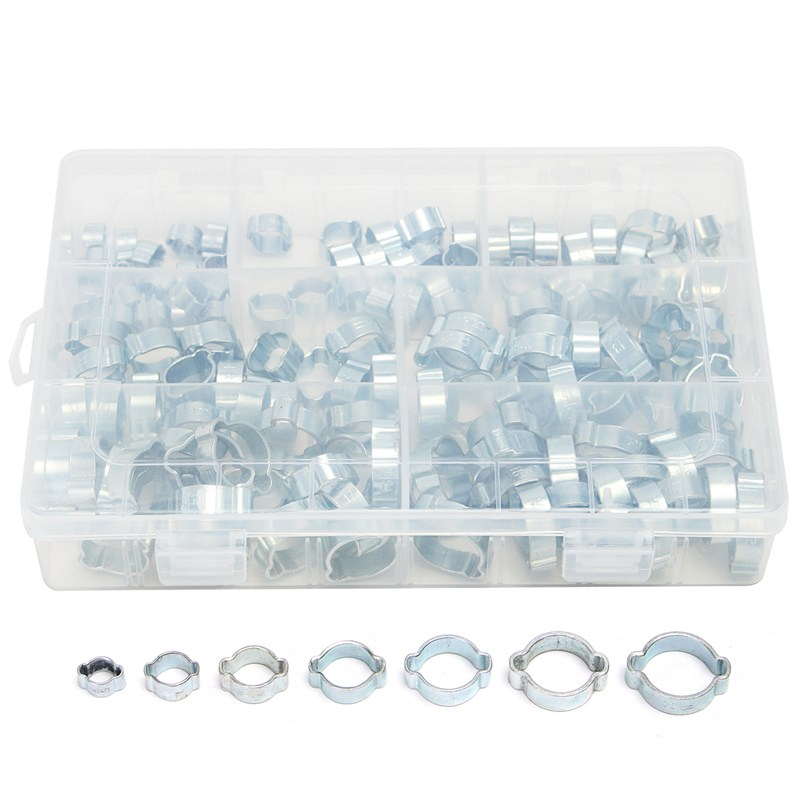 MTGATHER 140PCS Assorted Double Ear O Clips Steel Zinc Plated Hydraulic Hose Fuel Clamps Security 50 pieces metric m4 zinc plated steel countersunk washers 4 x 2 x13 8mm