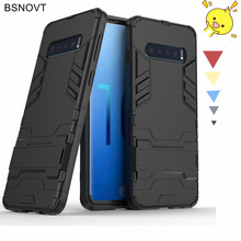 For Samsung Galaxy10 Case Back Bumper Phone Holder Armor Anti-knock Galaxy S10 Cover