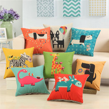 45x45cm Cartoon Animal Dog Pattern Cushion Covers For Home Sofa Decor Children Room Decorative  Pillow Case