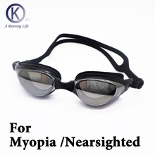 цена на Top Quality Myopia Swimming Goggles Nearsighted / shortsighted HD Swimming Glasses diopter Spectacles plating lens Customized