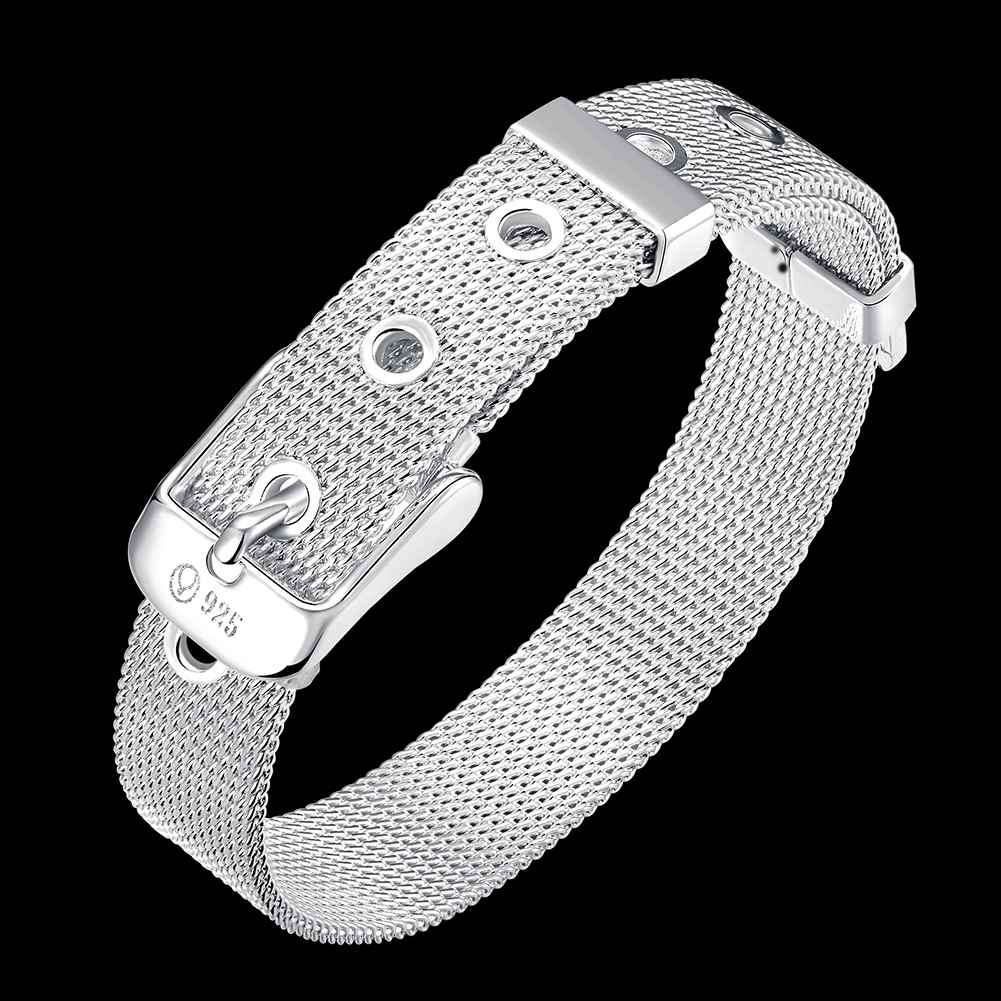 Christmas Gift 2017 New Silver Plated Fashion Jewelry Watch Chain 10mm Mesh Bracelets Bangle Whole In Link From