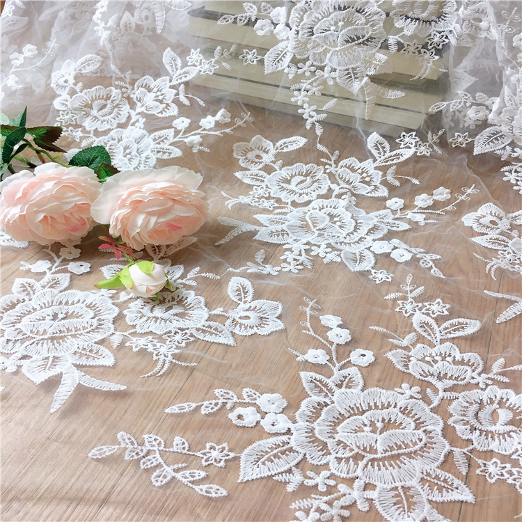 1yard/2yards jacquard white wedding lace fabric French embroidery for accessories Wedding dress clothes MT38