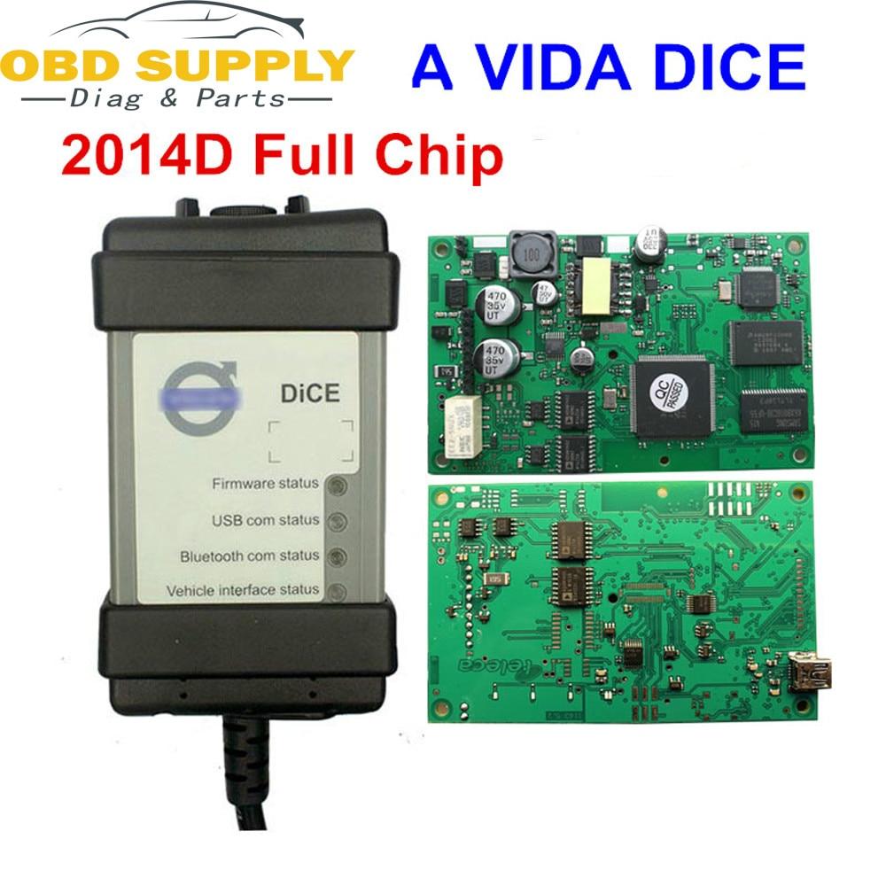 Hottest 2014D Completo Chip Para Volvo Vida Dice Ferramenta de Diagnóstico Multi-Idioma Para Volvo Dice Pro Dice vida Verde placa