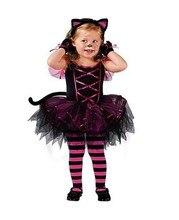 new Kids Halloween costume Cute girls clothes Kitten cat Costume Fashion TUTU dress+Headband 2 pcs/set girl gown Animal Cosplay