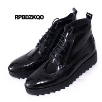 Brogue Wedge Oxford Mid Calf Ankle Runway Booties Shoes High Sole Mens Black Patent Leather Boots Male Sock Wingtip Thick Soled