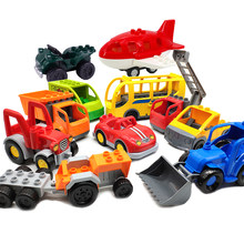 mini Car bus helicopter Cartoon plane Big size Building Blocks Original Vehicle accessory DIY Toys Compatible Duplo Bricks Sets(China)