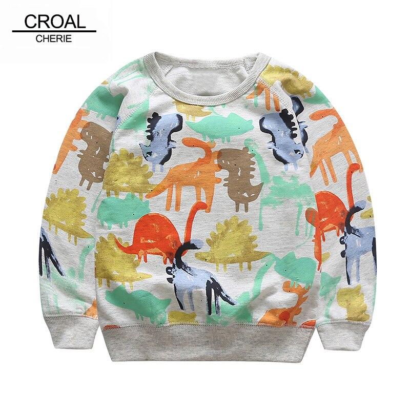 80-120cm Fashion Printing Kids Girls Sweatshirt Boys Cute Dinosaur Baby Hoodie Sweaters Spring Autumn Children Clothing
