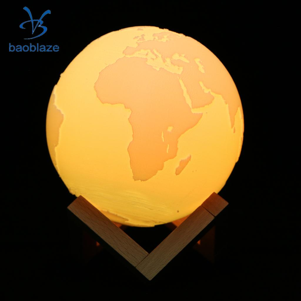 3D Printing Earth Lamp USB LED Moonlight Luna Night Light Touch Sensor 16 Colors Changeable 3d magical moon lamp usb led night light moonlight touch sensor color changing night light 8 10 13 15 18 20cm christmas gift