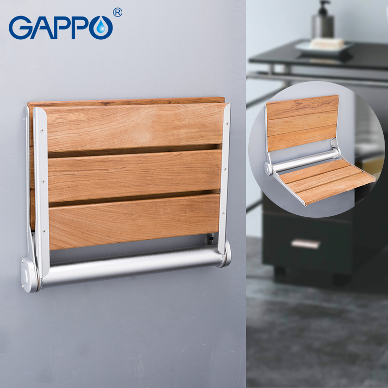GAPPO Wall Mounted Shower seats wall mounted bathroom chair folding bath seat wood and Aluminium Alloy bench wall
