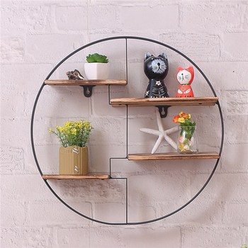 Wood Metal Hanging Shelf Round Wall Unit Retro Black Home Wooden Decorative Holder 4 Partitions Office Sundries Storage Rack Полка