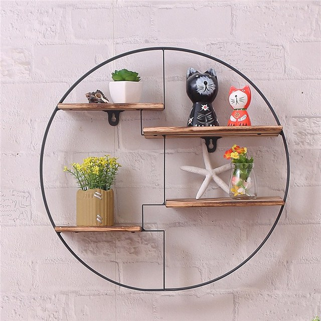Wood Metal Hanging Shelf Round Wall Unit Retro Black Home Wooden Decorative Holder 4 Parions Office