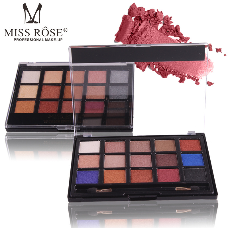 Miss Rose 15 Color Nature Glow Eyeshadow Palette Portable -9636