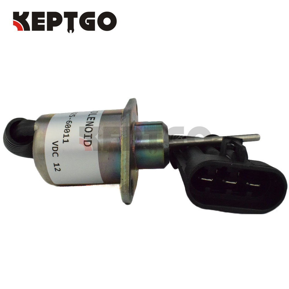 1G925-60011, 12V, 1503ES-12A5UC4S, Fuel Shut off Solenoid For Kubota Engine, For Bobcat S185 Skid Steer 6691498 stop solenoid 1j710 60011 12v for engine v2607