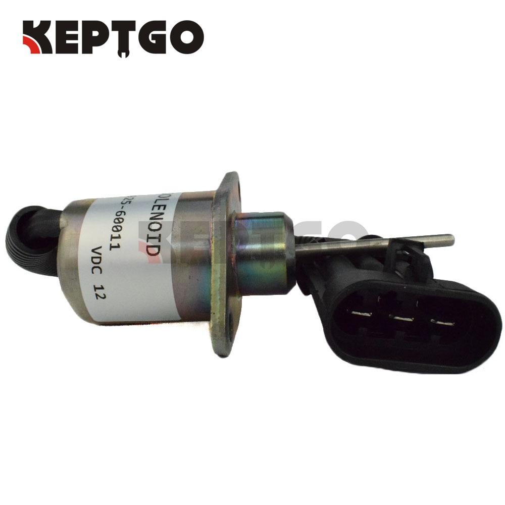 1G925 60011, 12V, 1503ES 12A5UC4S, Fuel Shut off Solenoid For Kubota Engine, For Bobcat S185 Skid Steer 6691498