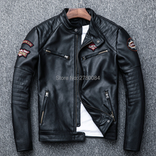 Factory genuine leather jacket man slim motocycle coat real leather co